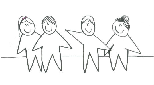 Sketch of four people standing and smiling