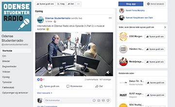Billedet viser et screenshot af Odense Studenterradios Facebookside.